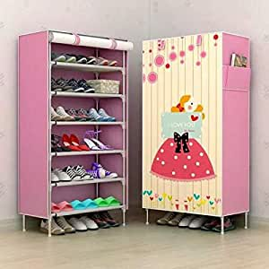 Shopify Multipurpose Portable Folding Shoes Rack 6 Tiers Multi-Purpose Shoe Storage Organizer Cabinet Tower with Iron and Nonwoven Fabric with Zippered Dustproof Cover (HopeFullGirl) (Pink)