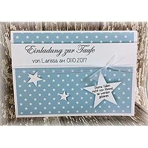 Einladung Einladungskarte Sterne Taufe Jugendweihe personalisierbar hellblau
