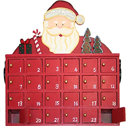 Calendario dell'avvento XXL, dipinto a mano, di legno, con Babbo Natale, 27x 24x 6cm
