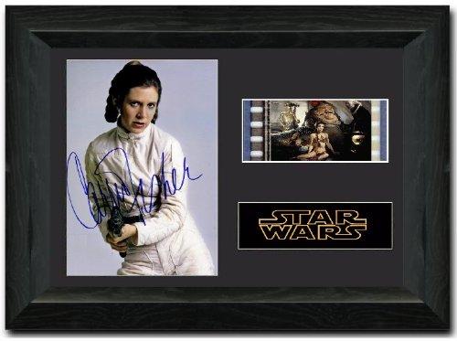 Filmstreifen von Prinzessin Leia, 35mm, gerahmt, mit Autogramm von Carrie Fisher