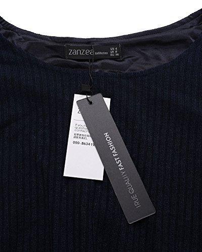ZANZEA Femme Sweater Tricot Lâce Manche longue Haut Pull Mini-robe Cardigan Sweats Bleu