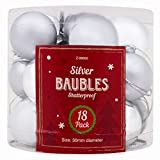 Stalwart Z-99890 Christmas Baubles, Silver (Pack of 18)