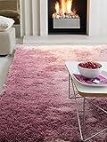 Benuta Teppiche: Hochflor Teppich Whisper Lila 200x290 cm - schadstofffrei - 100% Polyester - Uni - Handgetufted - Wohnzimmer