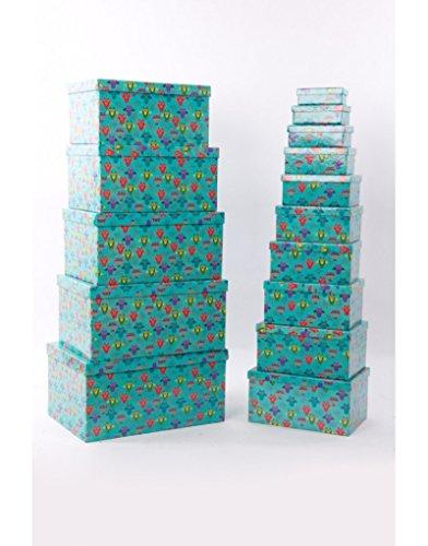 Homeline Set de 15 cajas rectangulares - Modelo búhos