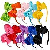 WBCBEC - Set di 10 fasce per capelli con fiocco, in gros grain, accessori per capelli per bambine, bomboniere e feste, 10 colori