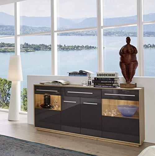 Trendteam Wohnzimmer Sideboard Schrank Wohnzimmerschrank Kuba, 170 X 85 X  39 Cm In Korpus Alteiche Dekor, Front Grau Glanz Mit Schubkasten Und Viel  Stauraum