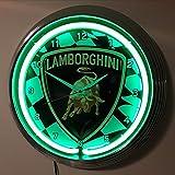 Neon Orologio Lamborghini Racing SIGN–Orologio da parete con luce verde neon Ring–disponibile anche con altre Neon Colori.