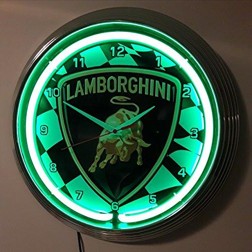 Neon reloj Lamborghini Racing Sign–Reloj de pared iluminado con Neon verdes anillo–También Disponible con otros Neon Colores.
