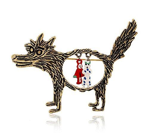 rosche Hemd Strass Brosche Karikatur Großer Wolf Rotkäppchen Anstecknadel Dekoration Jacken Broschen Schals Broschen für Damen Mantel Clips Deko Zubehör ()