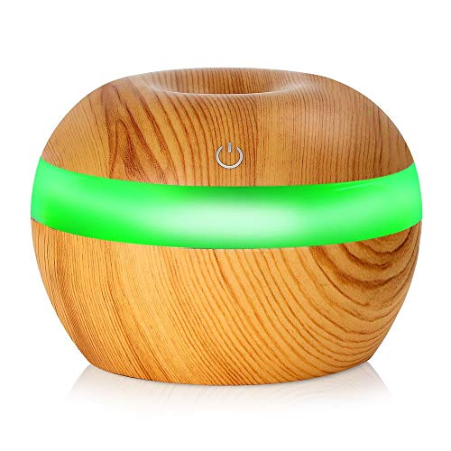 Yaoaofron Electronic Wood Grain Ultrasonic Essential Oil Diffuser Moisture Air Freshener Peach