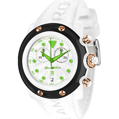 Glam Rock Unisex Miami Beach 46mm White Silicone Band Polycarbonate Case Quartz Analog Watch GR2520