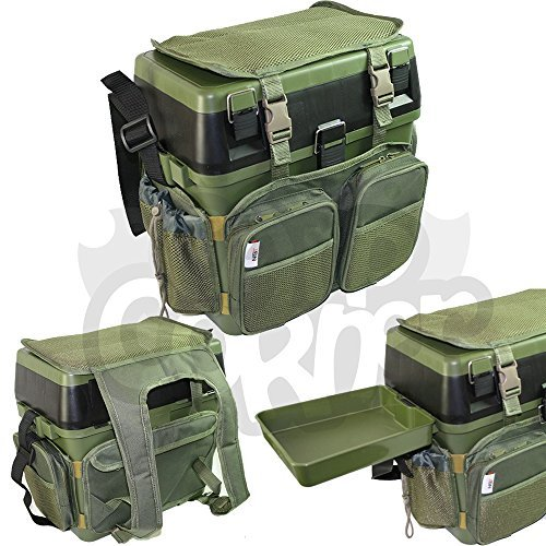 Fishing-Green-Seat-Box-with-Harness-Rucksack-Converter-Includes-Side-Tray