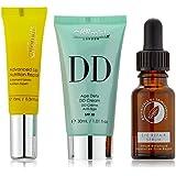 skinChemists Bundle - Set acabado perfecto anti edad: serum facial Coldtox, serum reparador de ojos de botanicals y DD cream anti edad, tono medio