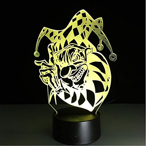 Knncch 7 Farbwechsel 3D Clown Joker Led Nachtlicht Acryl Bunte Gradienten Atmosphäre Illusion Lampe Familie Halloween Geschenk