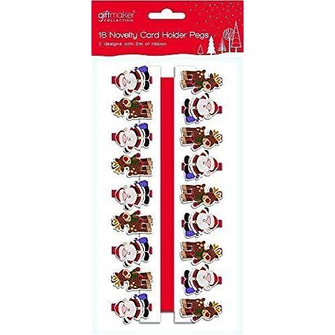 18 x diseño de madera de Papá Noel y para árbol de Navidad tarjetas de clavijas y 2 metros de cinta