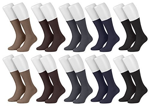 Piarini® - 10 pares de calcetines para hombre - Sin elástico - 100 % algodón - Multicolor - 43-46