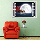 3D Christmas Wall Sticker Removable Mural Decals Vinyl Art Living Room Decors (50 * 70cm, D)