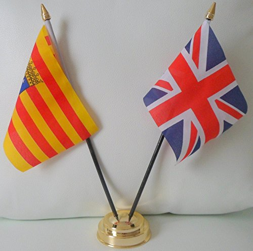 Aragon Spanien Spanien Flagge Union Jack, Freundschaft Tabelle 2-Kopf mit goldfarbenem Sockel -
