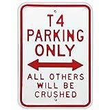 Rot Hot Lemon 12x 18galvansed Steel VW T4Parking Only Heavy Duty Zeichen, weiß