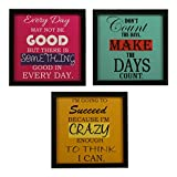 #10: INDIANARA 3 PIECE SET OF FRAMED WALL HANGING MOTIVATIONAL OFFICE DECOR ART PRINTS 8.7 INCH X 8.7 INCH WITHOUT GLASS