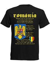 Rumänien Nationalhymne EM 2016 T-Shirt - S M L XL XXL - schwarz nc-nh