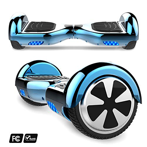 MARKBOARD 6,5zoll Hoverboard Elektro Scooter Selfbalance Scooter für Kinder, 700W Motor, Bluetooth Musik Lautsprecher (6,5Chrom Blau)