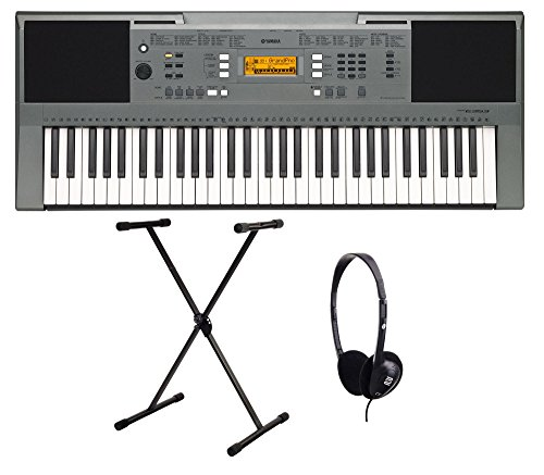 Yamaha PSR E353 Keyboard SET inkl. Ständer, Kopfhörer (61 Tasten Anschlagdynamik, AWM Stereo Sampling Tonerzeugung, 32-stimmige Polyphonie, 555 Sounds, 18 Drum Kits, inkl. Netzadapter, Notenablage)