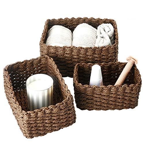 La Jolíe Muse Aufbewahrungskörbe, 3er Set aus gewebtem recyclebarem Papierseil, Aufbewahrungsboxen für Makeup, Spielzeug, für Schubladen, Büro, Schlafzimmer, Kleiderschrank, schokolade