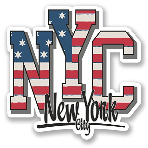 Preisvergleich Produktbild 2x New York City USA vinyl Aufkleber Aufkleber Laptop Reise Gepäck Auto Ipad Schild Fun # 5747 - 10cm/100mm Wide