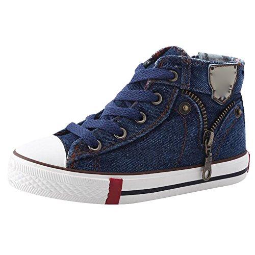 Highdas Leinwand Kinderschuhe Sport Breathable Jungen Sneakers Kind Jeans Denim Kind Flache Stiefel, dunkelblau 26 (Cowboy-stiefel Für Kinder)