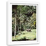 Feeby Imagen Cuadro Blanco XXL Paisaje Marco Blanco Selva Tropical Palmas Verde 80x120 cm