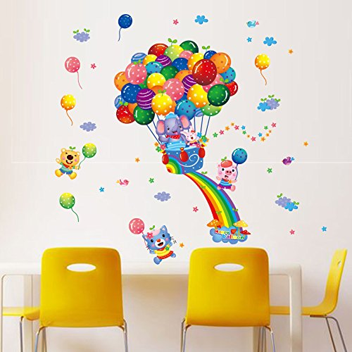 Znzbzt Pegatinas de pared elefantes globos creativos para niños paredes están decoradas...