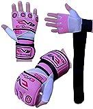 Evo Damen Neopren Gel Handschuhe Boxen Handgelenkstütze Riemen MMA Bag Innenhandschuhe - Rosa, Large/XL