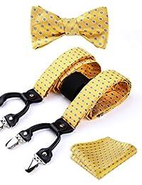 Hisdern Varios Clasico 6 clips Suspendedor & Bowtie & Plaza de bolsillo Set Forma Y Ajustable
