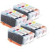 4 Compatible Canon CLI-526 C/M/Y Set Couleur (12 encres) - Cartouches d'encre avec puces pour imprimantes Cyan / Magenta / Jaune pour Canon Pixma iP4850, iP4950, iX6550, MG5150, MG5250, MG5320, MG5350, MG6150, MG6220, MG6250, MG8150, MG8170, MG8220, MG8250, MX885