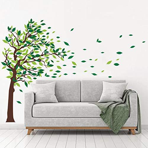 Decalmile adesivi murali alberi adesivi parete verdi foglie casa hotel ufficio soggiorno camera da letto decorazioni murale