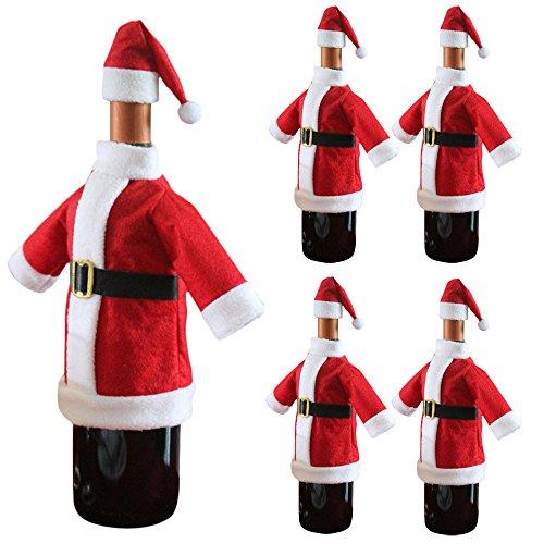 UDancin Weihnachten Plüsch Weinflasche Kappe Weihnachtsdekoration Weihnachtsschmuck Weihnachtsmann Kleidung Hut Weinflasche Abdeckungs Beutel Flaschen Sets Weinflaschenbezug Taschen