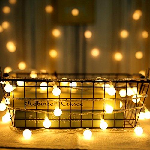 Guirlande Lumineuse Exterieure Guirlande Guinguette - 10M 80 Ampoules Guirlande Lumineuse LED à Piles Petites Boules Blanc Chaud Décoration Romantique pour Fête Noël Mariage Anniversaire Soirée Party