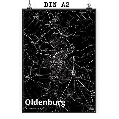 Mr. & Mrs. Panda Poster DIN A2 Stadt Oldenburg Stadt Black - Stadt Dorf Karte Landkarte Map Stadtplan Poster, Wandposter, Bild, Wanddeko, Wand, Motiv, Spruch, Kinderzimmer, Einrichtung, Wohnzimmer, Deko, DIN, A2, Fan, Fanartikel, Souvenir, Andenken, Fanclub, Stadt, Mitbringsel