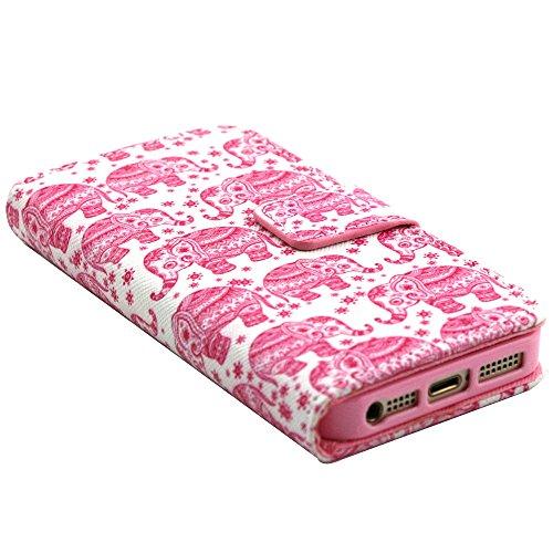 EUDTH iPhone SE Coque Peinture Style Housse Flip Cover Portefeuille Etui en Cuir de Protection Case vec B¨¦quille pour iPhone 5 / 5S / iPhone SE -YH06 YH01