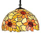 Tiffany Chandelier/Kunsthandwerk/Stained Glass/Garden Sun Flower/Wrought Iron Ceiling Platte/12 Zoll Lampe E27