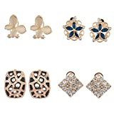 #9: Zephyrr Fashion Combo of 4 Stud Gold Tone Earrings For Girls and Women