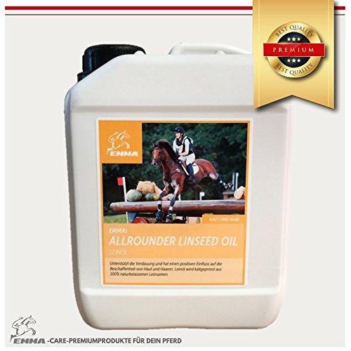 Leinöl fürs Pferd I Sparpaket 2,5 L I Pferdefutter I Ergänzungsfutter Leinöl fürs Pferd- für glänzendes Fell & gute Verdauung & Fellwechsel I Leinöl wird kaltgepresst hergestellt aus 100% naturbelassenen Leinsamen I LEINÖL IST REICH AN UNGESÄTTIGTEN FETTSÄUREN UNDT ENHÄLT DIE VITAMINE A, D UND E. ES SORGT FÜR GLÄNZENDES FELL, ERHÖHTE DYNAMIK UND IST WOHLTUEND FÜR DIE VERDAUUNG I EMMA Premium Produkt 2,5 Liter