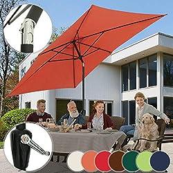 Parasol Rectangulaire - 2 x 3 m, Inclinable, Protection UV 30+, Polyester, avec Manivelle, Couleurs au Choix - Parasol de Jardin, Terrasse, Balcon