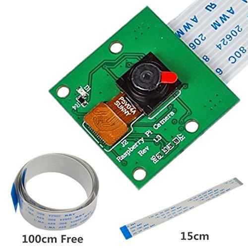 IZOKEE Kamera modul 5 Megapixels 1080p Mini OV5647 Sensor Kamera Video Modul, mit 15-Pin Flexkabel 15cm und 100 cm für alle Raspberry Pi Modelle A/B/B+, Pi 2 und Raspberry Pi 3 (Kamera)