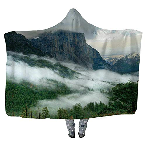 UKSILYHEART Hooded Blanket 130x150cm Wearable Blanket Yosemite During a Storm Wearable Blanket Adult Women Men Kids Wearable Blanket