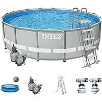 Intex Premium-Pool Komplettset 488x122 cm mit Sandfilter, Sicherheitsleiter und Solarfolie Schwimmbad Stahlwand Metallrahmen