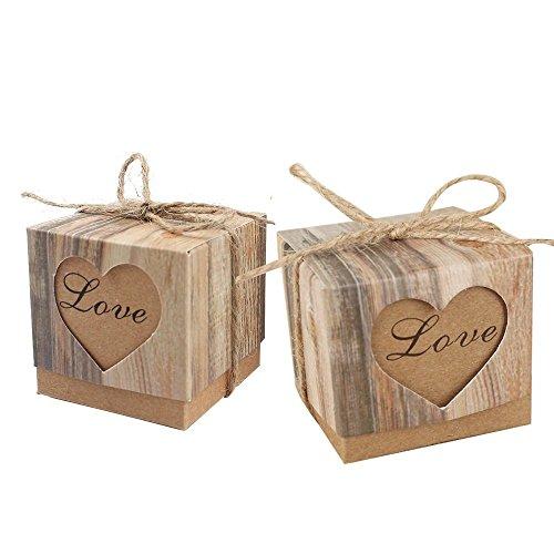 MINGZE 50 Stücke Retro Kraftpapier Box Süßigkeiten Geschenkbox + 50 Stücke Jute Seil, Geschenktüte für den Geburtstag Hochzeit