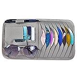 AIU Portaoggetti multifunzione per aletta parasole dell'auto, porta CD, organizer, porta penna, porta tessere e porta occhiali