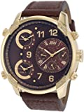 JBW - J6248LE - Montre Homme - Quartz - Analogique - Deux fuseaux horaires - Bracelet Cuir Marron